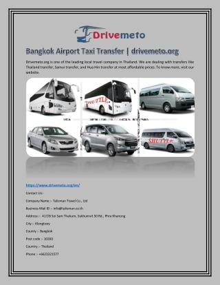 Bangkok Airport Taxi Transfer   drivemeto.org
