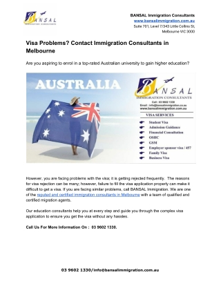 Visa Problems? Contact Immigration Consultants in Melbourne