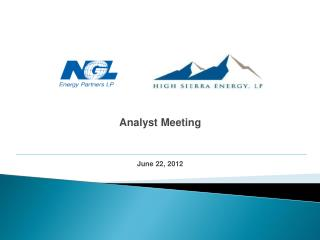 Analyst Meeting June 22, 2012