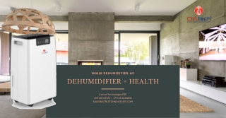 Dehumidifier to reduce air humidity in room to improve health.