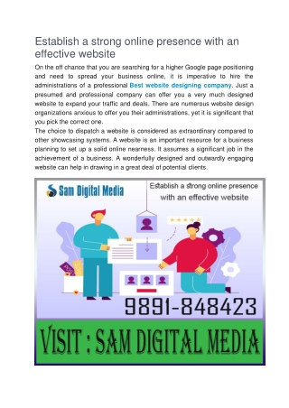 Establish a strong online presence with an effective website.