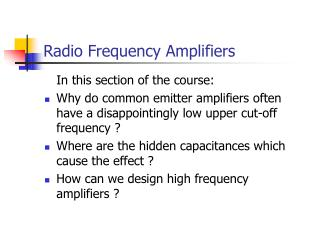 Radio Frequency Amplifiers