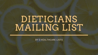 Best Dieticians Mailing List | Interested List of Dieticians