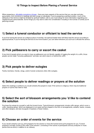 10 Points to Examine Prior To Planing a Funeral Service
