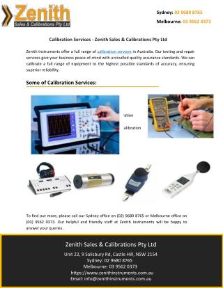Calibration Services - Zenith Sales & Calibrations Pty Ltd