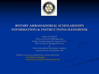ROTARY AMBASSADORIAL SCHOLARSHIPS  INFORMATION & INSTRUCTIONS HANDBOOK
