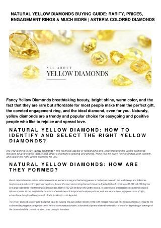 NATURAL YELLOW DIAMONDS BUYING GUIDE: RARITY, PRICES, ENGAGEMENT RINGS & MUCH MORE   ASTERIA COLORED DIAMONDS