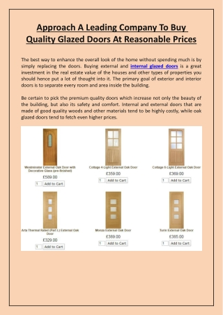 Approach A Leading Company To Buy Quality Glazed Doors At Reasonable Prices