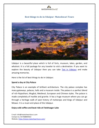 Best things to do in Udaipur- Mateshwari Tours