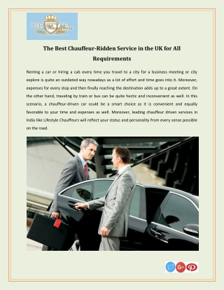 The Best Chauffeur-Ridden Service in the UK for All Requirements