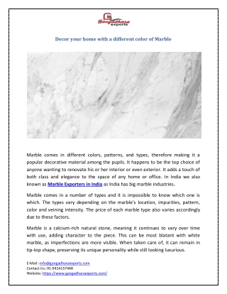 Decore your home with different color of Marble
