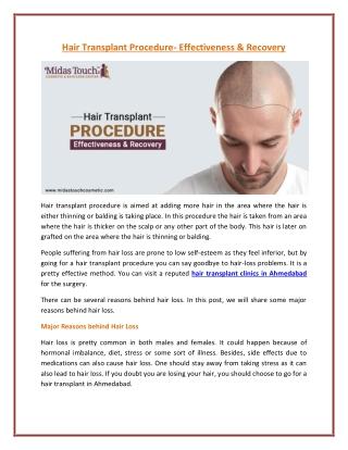 Major Reasons of Hair Loss Problem