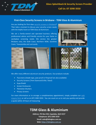 First-Class Security Screens in Brisbane - TDM Glass & Aluminium