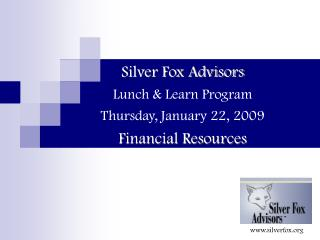 Silver Fox Advisors Lunch & Learn Program Thursday, January 22, 2009 Financial Resources