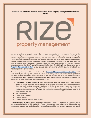 What Are The Important Benefits You Receive From Property Management Companies Utah?