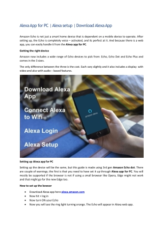 Steps to Setup Alexa App for PC and Amazon Echo