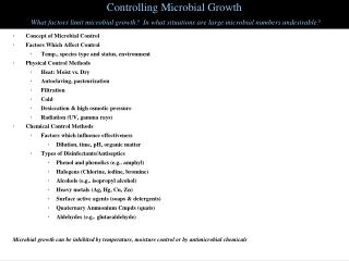 Controlling Microbial Growth What factors limit microbial growth?  In what situations are large microbial numbers undesi