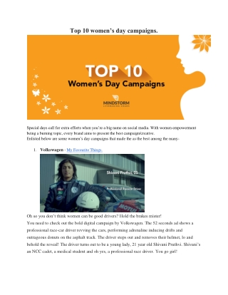Top 10 women's day campaigns.