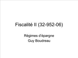 Fiscalit  II 32-952-06