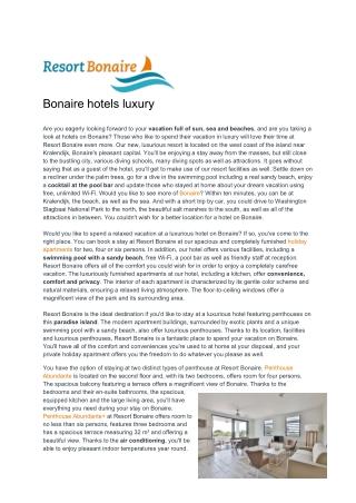 Bonaire Hotels Luxury