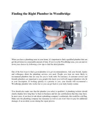 Finding the Right Plumber in Woodbridge