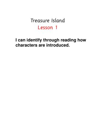 Treasure Island Lesson 1