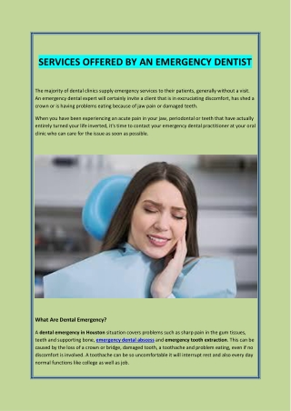 SERVICES OFFERED BY AN EMERGENCY DENTIST