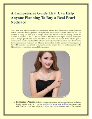 A Compressive Guide That Can Help Anyone Planning To Buy a Real Pearl Necklace