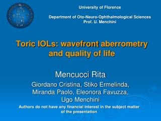Toric  IOLs:  wavefront aberrometry and quality of life