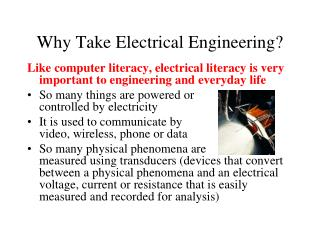 Why Take Electrical Engineering?