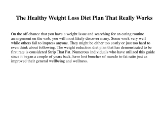 The Healthy Weight Loss Diet Plan That Really Works