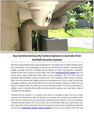 Buy Commercial Security Camera Systems in Australia from TechSafe Security Systems