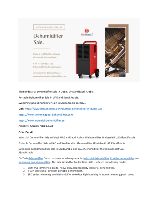 Dehumidifier sale. Industrial dehumidifier and swimming pool dehumidifier sale in UAE, Saudi Arabia and Oman