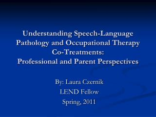 Understanding Speech-Language Pathology and Occupational Therapy  Co-Treatments: Professional and Parent Perspectives