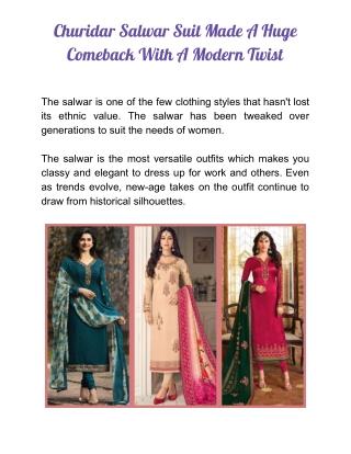Churidar Salwar Suit with a Modern Twist
