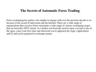 The Secrets of Automatic Forex Trading