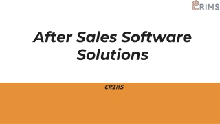 After Sales Software Solutions