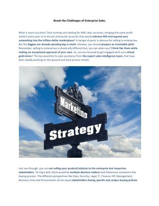 Break the Challenges of Enterprise Sales