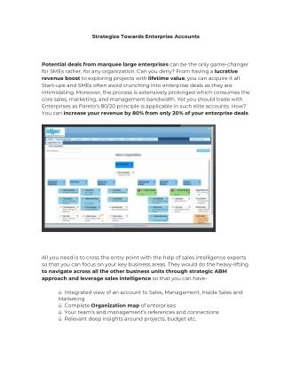 Strategize Towards Enterprise Accounts