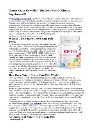 Nature Crave Keto Pills