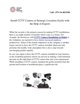Install CCTV Camera at Strategic Locations Easily with the Help of Experts