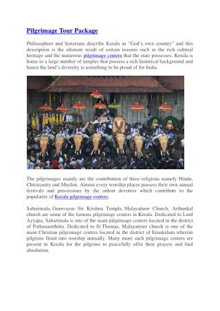 Pilgrimage tour packages | Kerala tour packages
