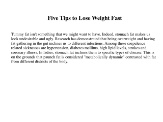 Five Tips to Lose Weight Fast