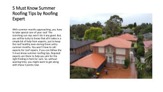 5 Must Know Summer Roofing Tips by Roofing Expert