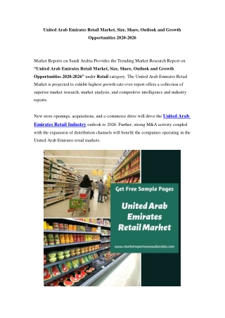 United Arab Emirates Retail Market Opportunity and Forecast Till 2026