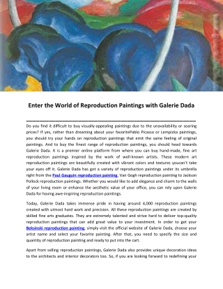 Enter the World of Reproduction Paintings with Galerie Dada