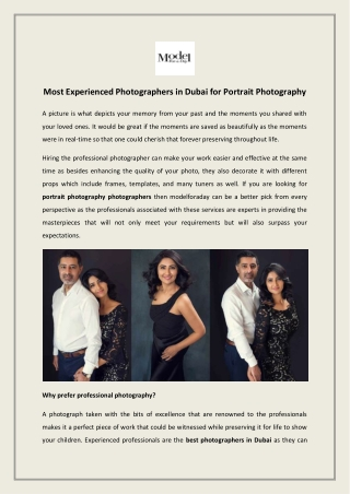 Most Experienced Photographers in Dubai for Portrait Photography