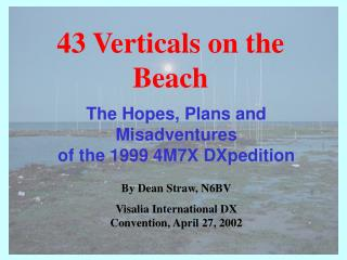 The Hopes, Plans and Misadventures  of the 1999 4M7X DXpedition