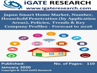 Japan Smart Home Market, Number, Household Penetration (by Application Areas), Policies, Trends & Key Company Profiles -