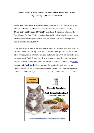 Saudi Arabia Cat Food Market: Growth, Opportunity and Forecast Till 2024
